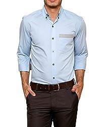Dazzio Men's Slim Fit Cotton Casual Shirt (DZSH0906_Blue_42)