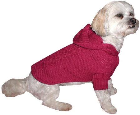 Doggiduds Chalice Hooded Cable Dog Sweater, Medium