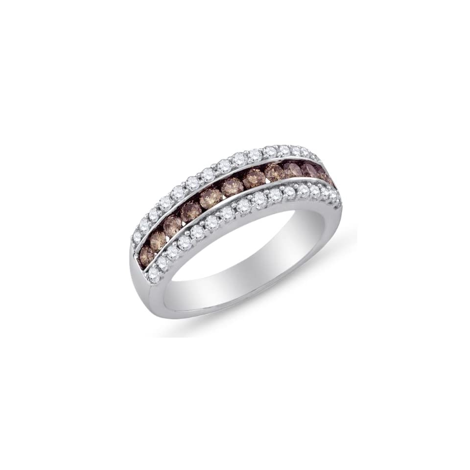 Size 4   10K White Gold Channel Set Round Cut Chocolate Brown and White Diamond Ladies Womens Wedding Band OR Anniversary Ring (.98 cttw.)