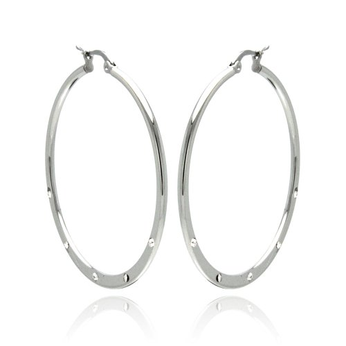 **LEAD FREE** Stainless Steel CZ Cubic Zirconia Accented Hoop Earrings with Hinge and Notch Post for Women (40mm x 40mm x 1.5mm)