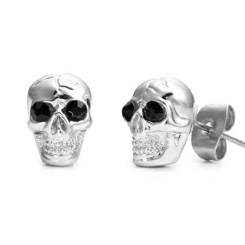 Sparkling Skulls CZ Stainless Steel Silver Stud Earrings for Men (Black Cubic Zirconia)