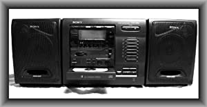 SONY CFD-600 AM/FM STEREO, WITH 6 DISK CHANGER, CASSETTE RECORDER