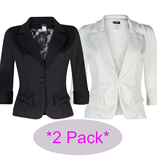 Women's 3/4 Sleeve Blazer with Sexy Lace back and Cuffs. Great Dressy Jacket (medium, 2 pack (Party City Canada Careers)
