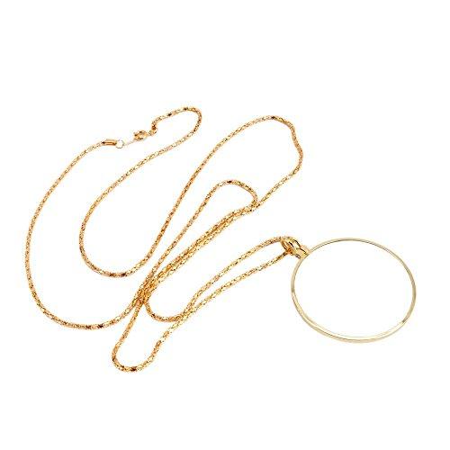 Aexge 1pc Pocket Magnifier Golden Necklace Pendant Magnifying Loupe Glass Lens 5x