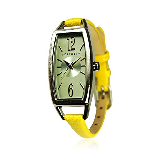 TOKYObay Women's T218-YEL Levere Yellow/Green Leather Watch