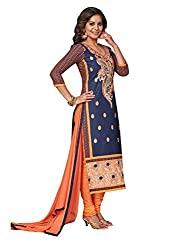 PShopee Navy Blue & Orange Cotton Embroidery Unstitched Karachi Dress Material