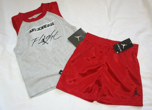 d8168565f1cd36 Nike Air Jordan Flight Baby Infant 2 Piece Shorts Set - Size  18 Months -  Red Grey Review