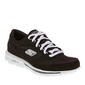 Womens Skechers Go Walk Baby Walking Shoes Wide Black White Size 7.5 from Skechers