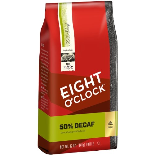 Eight O'Clock 50% Decaf Ground Coffee, 12-Ounce (Pack of 6)