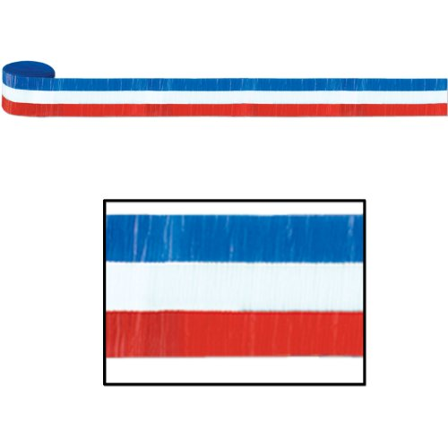 PATRIOTIC RED, WHITE AND BLUE CREPE STREAMER - 1