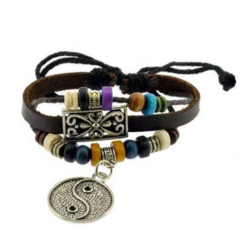 Yin Yang Symbol Zen Bracelet Leather Bracelet Wristband Surf Bracelet Adjustable Size