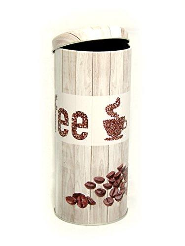 Grovendo Kaffee Coffee Pad Dose Kaffeepaddose Aufbewahrungsdose Küchendose Pad-Dose Kaffeedose - grau Motiv: COFFEE, Kaffee-Bohnen mit Tasse