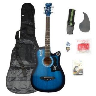 Moppi DK-38C Basswood-Gitarren-Blau mit Tasche Riemen Picks LCD Tuner Pickguard String online bestellen