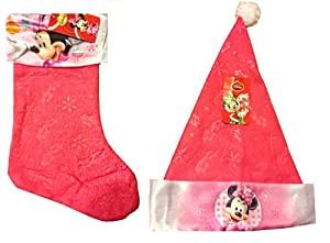 Disney Minnie Mouse Christmas Hat and Matching Stocking(pink)