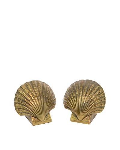 Aviva Stanoff Brass Shell Bookends, Brass