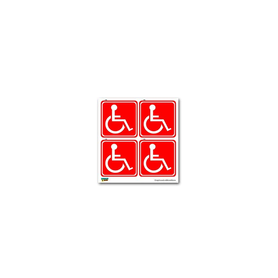 Disabled Wheelchair Symbol RED Set of 4   Handicapped   Window Bumper Laptop Stickers