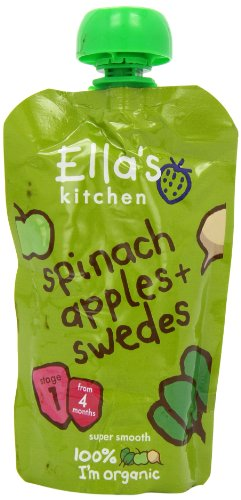 Ella's Kitchen Stage 1 From 4 Months Organic Spinach, Apples and Swede 120 g (Pack of 7)