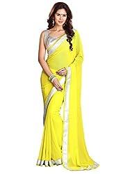 SRP Fashion Selection Women's Chiffon Saree (SRP-OF75, Yellow)