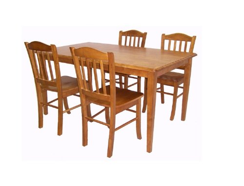 boraam 80136 5 piece shaker dining room set oak furnitures sale