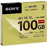 ソニー 日本製 ビデオ用BD-RE XL 書換型 片面3層100GB 2倍速 ホワイトワイドプリンタブル 3枚 3BNE3VCPS2