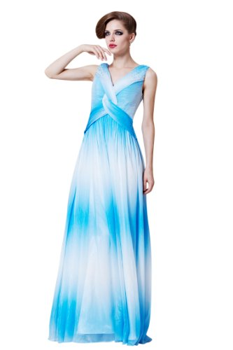 CharliesBridal V-Neck Floor Length Formal Evening Dress - XS - Blue and White