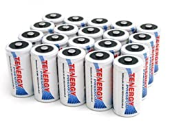 20 pcs of Tenergy Premium C Size 5000mAh High Capacity High Rate NiMH Rechargeable Batteries