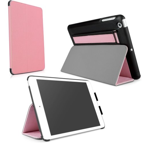 Soundboost Apple Ipad Mini Case - Ipad Mini Slim Smart Case With Built-In Sound Reflector To Boost Volume, Magnet Activated Sleep/Wake Smart Cover And Fold-Away Stand With Secure Hand Strap (Soft Pink)