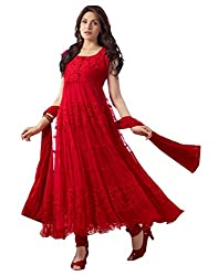Aaryan Women's Semi-Stitched Anarkali Dress Material (KH-Red01_Red_Free Size)