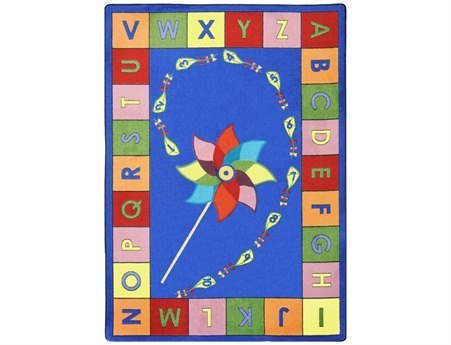 "Joy Carpets Kid Essentials Early Childhood Alphabet Pinwheel Rug, Multicolored, 10'9"" x 13'2"""