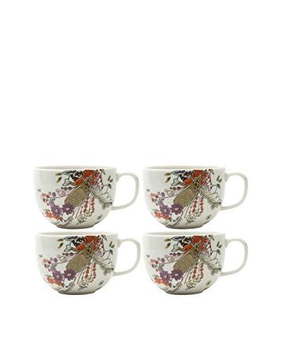 Prima Designs Set of 4 Floral Henna Band Mugs, Multi
