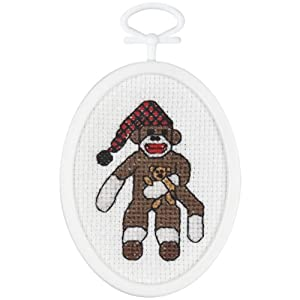 "Peejay Sock Monkey Mini Counted Cross Stitch Kit-2-1/4""X2-3/4"" Oval 18 Count"