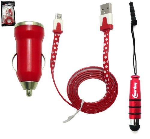 """Emartbuy® Pois Série Trio Pack Pour Kobo Glo HD 6"""" Pouce eReader - Rouge Bullet 1 Amp USB Chargeur Allume-Cigare + Rouge Métallique Mini Stylet +"""