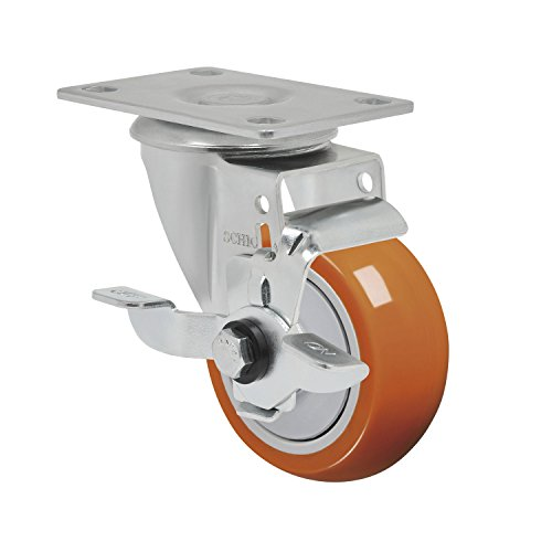 Schioppa L12 Series, GLA 312 UPE SL, 3 x 1-1/4″ Swivel Caster with Wheel Lock Brake, Non-Marking Polyurethane Precision Ball Bearing Wheel, 175 lbs, Plate 3-3/4 x 2-1/2″ (Bolt Holes 3 x 1-3/4″)