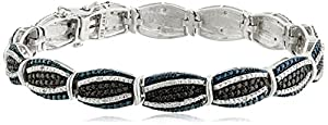 Sterling Silver with Black, Blue and White Diamonds Bracelet (1/10cttw, I-J Color,I3 Clarity), 7.25