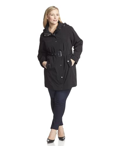 London Fog Women's Plus Single Breasted Rain Coat  [Black]