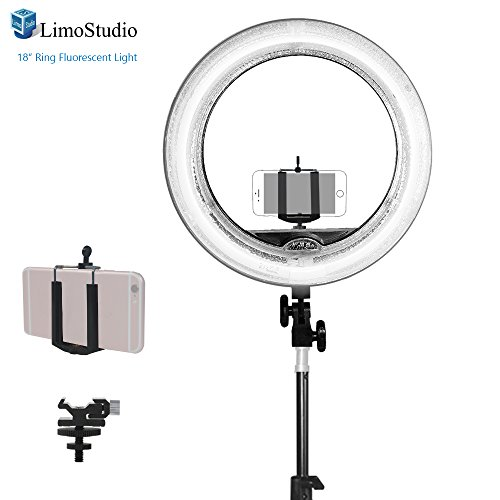 LimoStudio-18-inch-Fluorescent-Ring-Light-5500K-Dimmable-with-Cell-Phone-Holder-Clamp-Clip-Flash-Bracket-Shoe-Mount-Adapter-Camera-Photo-Studio-AGG2039