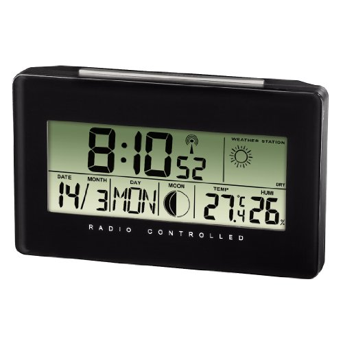 """Hama Thermo-/Hygrometer """"TH500"""", schwarz, mit Funkuhr, Datum und Wecker"""