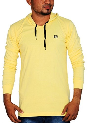 Henry Cotton Men's Hooded Full Sleeve Cotton T Shirt (Yellow_L)  available at amazon for Rs.499