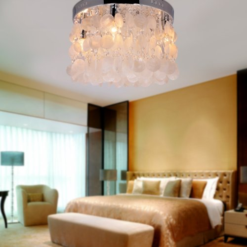 Lightinthebox White Shell + Crystal Flush Mount (Chrome Finish), Mini Style Modern Ceiling Light Fixture For Bedroom, Living Room