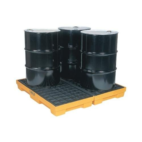 Eagle Yellow High Density Polyethylene 10000 lb 30 gal Spill Deck - Supports 4 Drums - 51 1/2 in Width - 52 1/2 in Length - 6 1/2 in Height - 1634 [PRICE is per EACH]