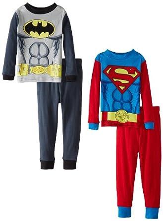 Batman Little Boys' and Superman Twofer Cotton Pajama Set, Multi, 6