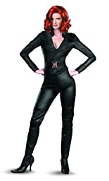 Disguise Marvel\'s Avengers Movie Black Widow Avengers Deluxe Adult Costume, Black, Small/(4-6)