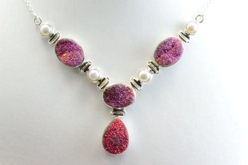 Titanium Druzy, Pearl 925 Silver Jewelry Handmade Necklace