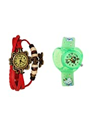 ANALOG KIDS WATCH WITH HELLO KITTY CARTOON PRINTED ON DIAL AND STRAP WITH FREE RED WOMAN BRACELET WATCH
