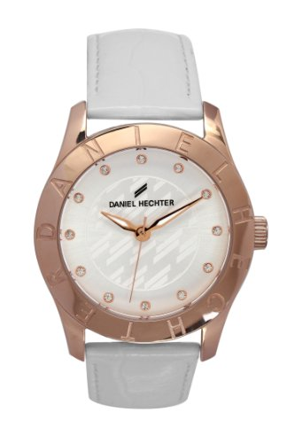Daniel Hechter DHD 2BB - 004/Women's Quartz Analogue Watch-White Leather Strap Silver Dial