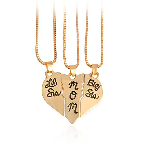 Mother Daughter Jewelry Big Sis Lil Sis Mom Broken Heart Puzzle Necklace Set (Gold) (Lil Sis Big Sis Mom Necklace compare prices)