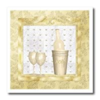 Beverly Turner Anniversary Design - 50th Anniversary, Gold, Bottle and Glasses, Hearts, Frame - Iron on Heat Transfers by 3drose Llc