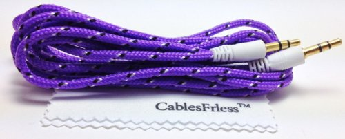 Cablesfrless (Tm) 3.5Mm Auxiliary (Aux) Audio Jack Cable (Braided Style) (6Ft Purple)