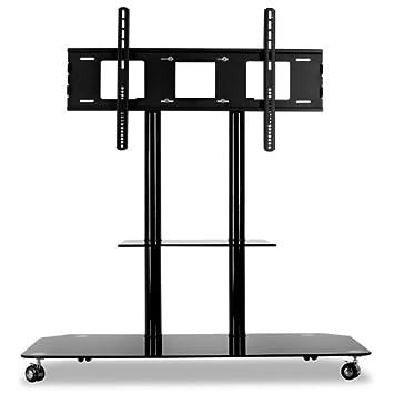 electronic star support tv tv pied verre aluminium roulettes noir high tech noir high. Black Bedroom Furniture Sets. Home Design Ideas