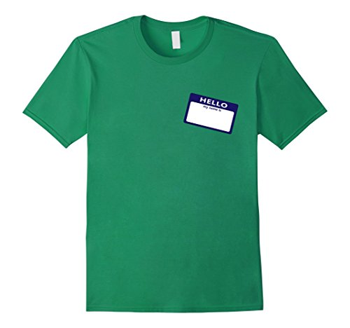 [Men's Name Tag shirt - Easy Costume - Fill In Yourself - Be Anyone Medium Kelly Green] (Diy Quick And Easy Halloween Costumes For Adults)